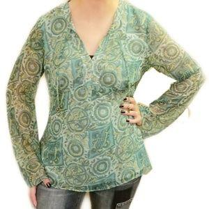 Loft》Green Boho Printed Long sleeve